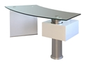 Tierney Modern White + Clear Glass Desk