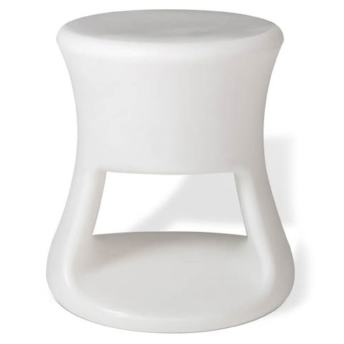 Tiki White Outdoor Stool + Accent Table by Offi & Company