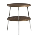 Tomlinson Large Walnut Side Table with Polished Steel Frame