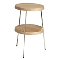 Tomlinson Natural Oak + Polished Steel Modern Side Table