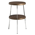 Tomlinson Walnut Wood + Polished Steel Modern End Table