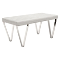 Topps White Leatherette + Polished Steel Modern Bench