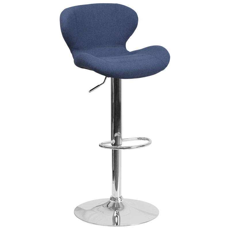 Torino Modern Adjustable Barstool in Blue