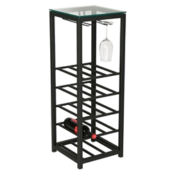 Tornillo Modern Metal and Glass Narrow Wine Rack