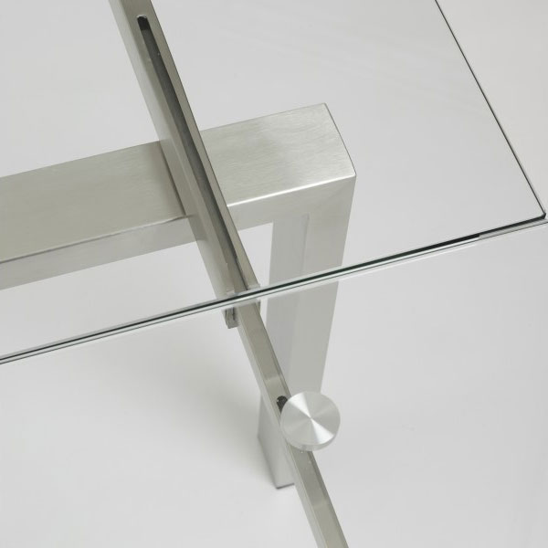 Contemporary Furniture Torrance: Torrance Brushed Steel Modern Extension Table