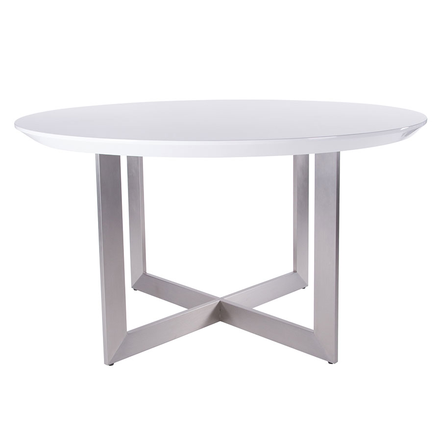 Call To Order · Toledo High Gloss White Lacquer + Brushed Stainless Steel  Round Modern Dining Table