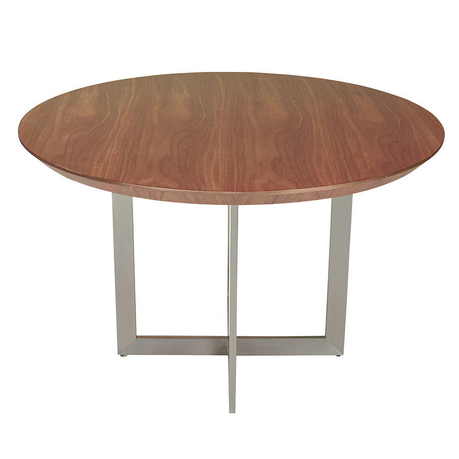 Tosca Round Walnut Modern Dining Table