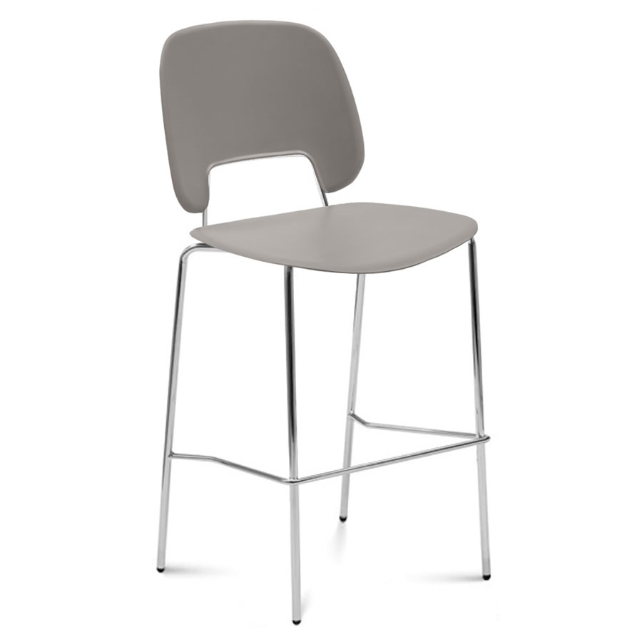Trajan Tan + Chrome Modern Counter Stool