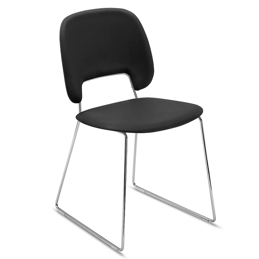 Trajan Chrome + Black Leatherette Modern Sled Dining Chair