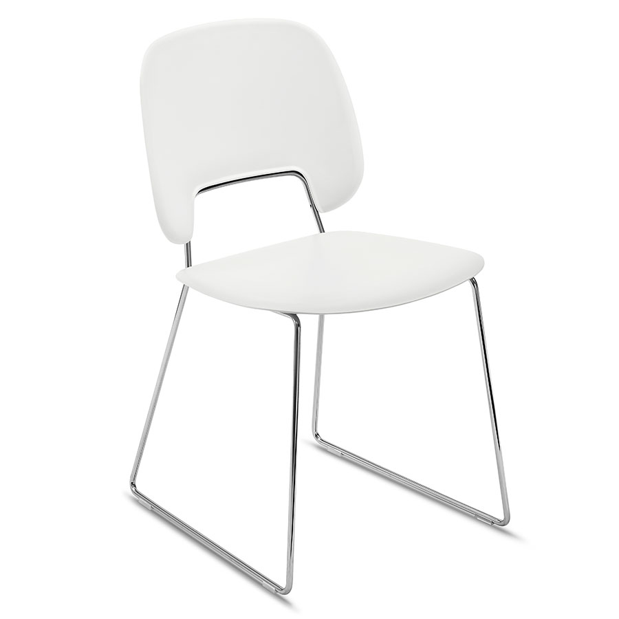 Trajan Chrome + White Modern Sled Dining Chair