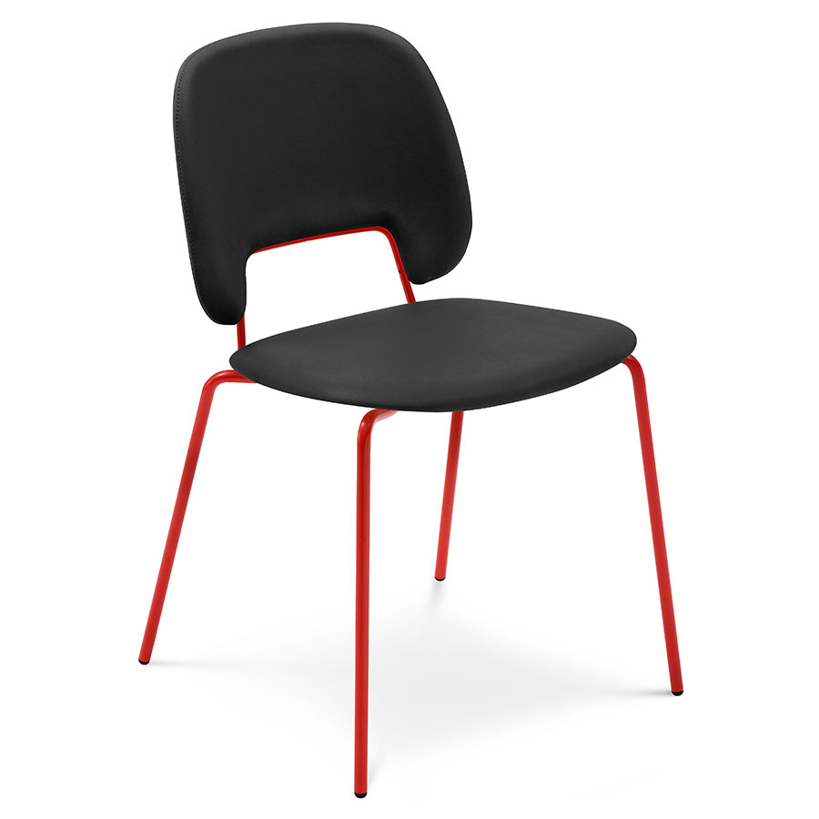 Trajan Red + Black Leatherette Modern Dining Chair