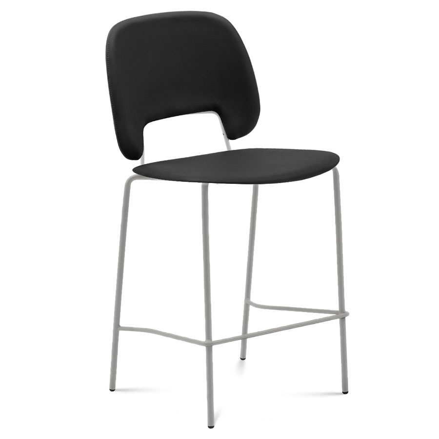 Trajan Tan + Black Leatherette Modern Counter Stool