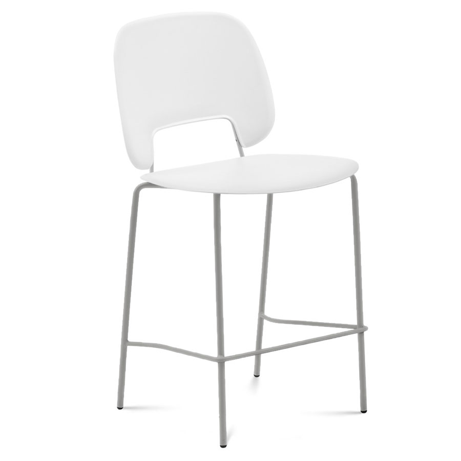 Trajan White + Tan Modern Counter Stool