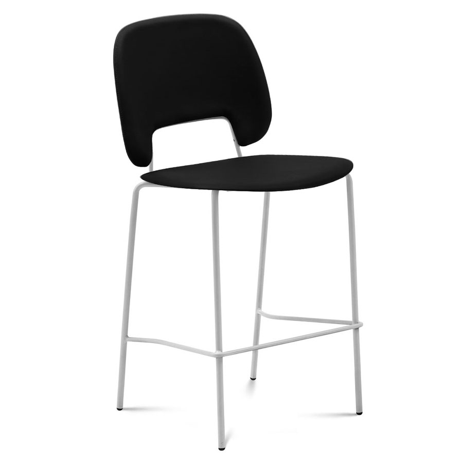 Trajan White + Black Leatherette Modern Bar Stool