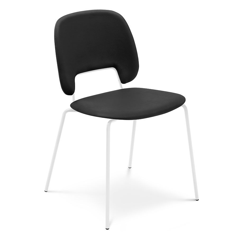 Trajan White + Black Leatherette Modern Dining Chair