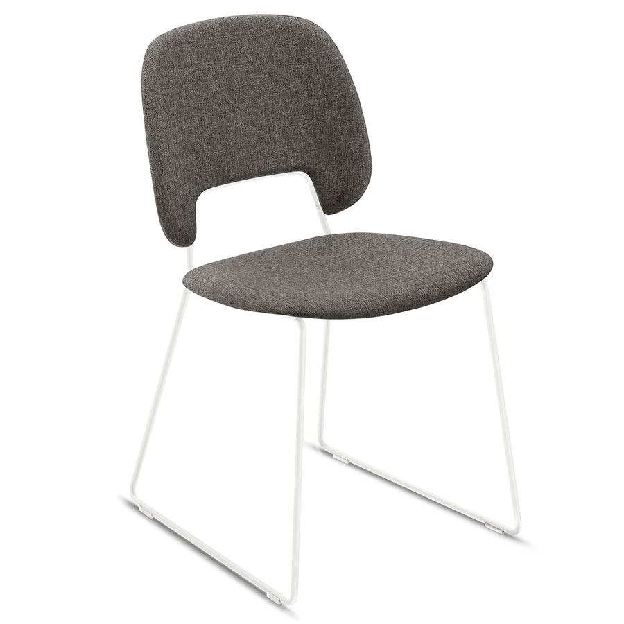 Trajan White + Brown Modern Sled Dining Chair