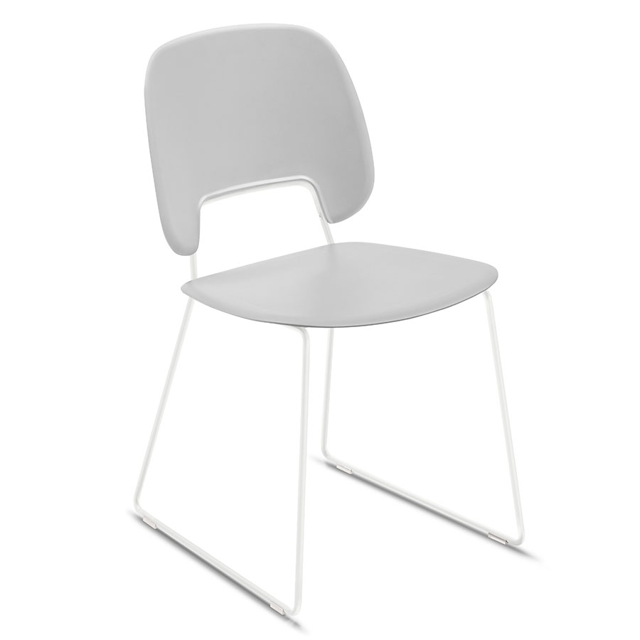 Trajan White + Gray Sled Modern Dining Chair