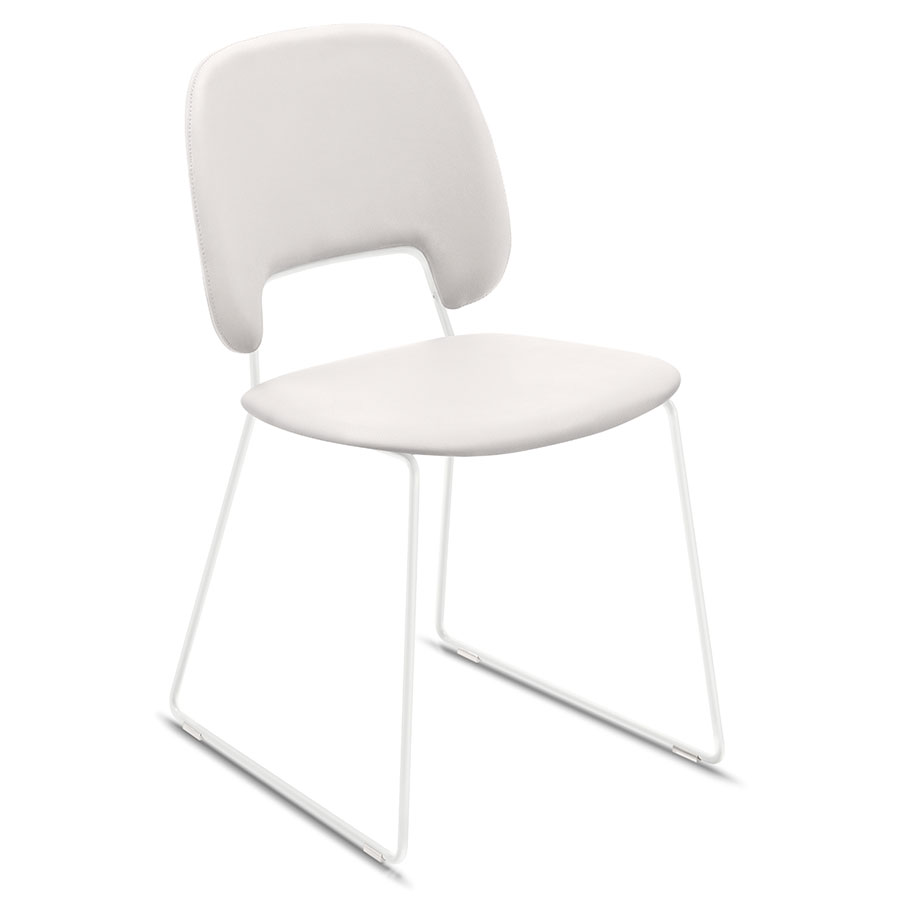 Trajan White Sled Modern Sled Dining Chair