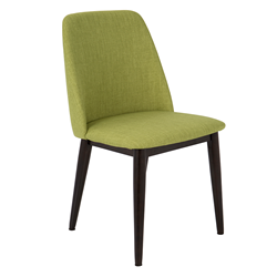 Trent Green Fabric + Dark Wood Modern Dining Side Chair