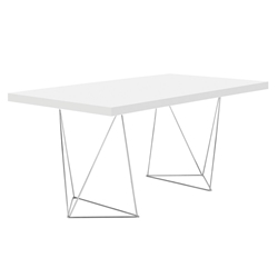 Tema Home Multi Trestles 63 Inch White Chrome Table