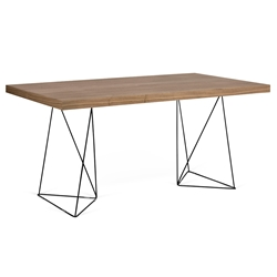 Trestles Walnut + Black 71 in. Multi Dining Table by TemaHome
