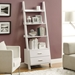 Trina Contemporary White Wall-Leaning Ladder Bookcase