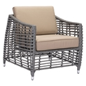 Trixie Gray Synthetic Open Weave + Tan Sunproof Fabric Modern Outdoor Arm Chair