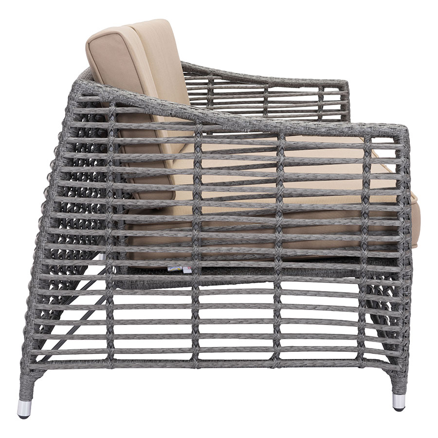 Modern outdoor sofa -  Trixie Gray Synthetic Weave Tan Sunproof Fabric Upholstery Contemporary Outdoor Sofa