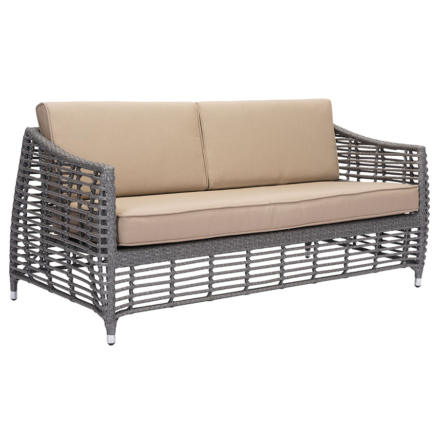 trixie modern outdoor sofa  eurway modern furniture - trixe gray synthetic open weave  tan sunproof fabric upholstery modernoutdoor sofa