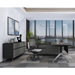 Trondheim Modern Executive Desk + Credenza in Grey