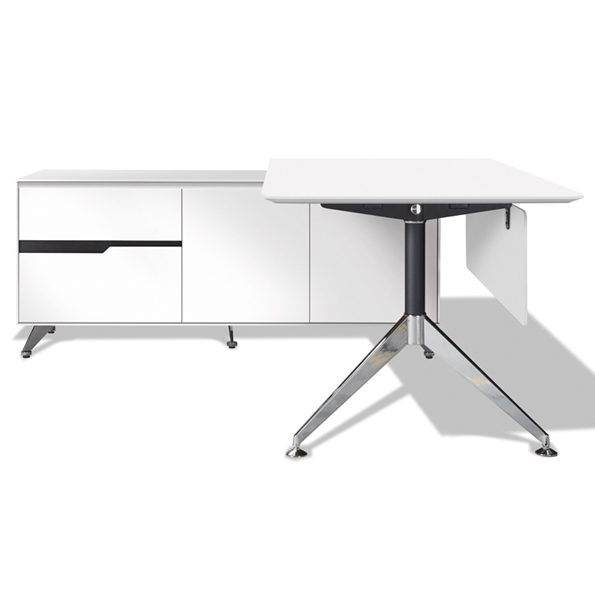 Trondheim 400 Collection White Desk + Left Credenza