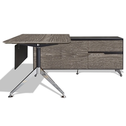 Trondheim 400 Collection Grey Executive Desk + Right Credenza