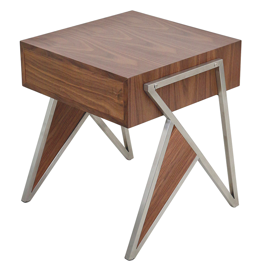 ... Trudy Walnut Contemporary End Table + Nightstand ...