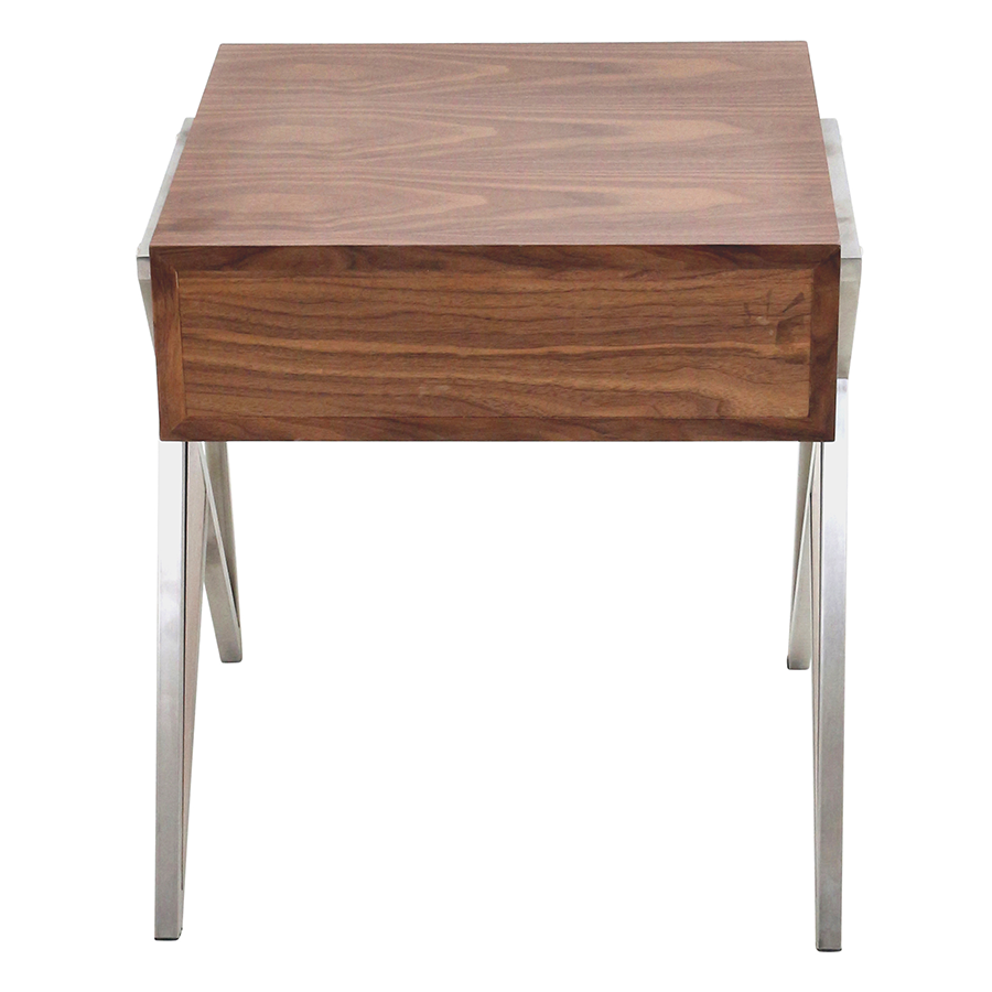 Modern end tables -  Trudy Walnut Metal Modern End Table Nightstand