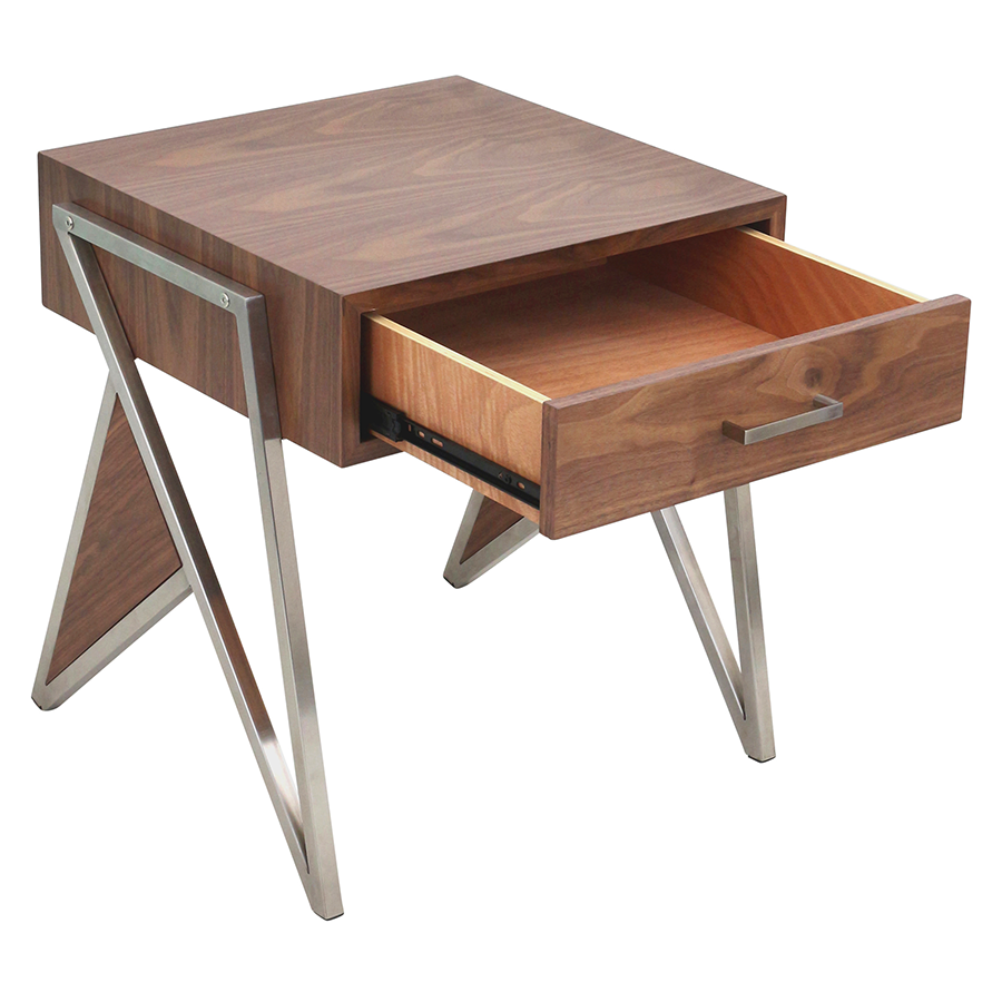 ... Trudy Walnut + Metal Contemporary End Table + Nightstand ...