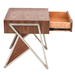 Trudy Walnut + Metal Angular Modern End Table + Nightstand