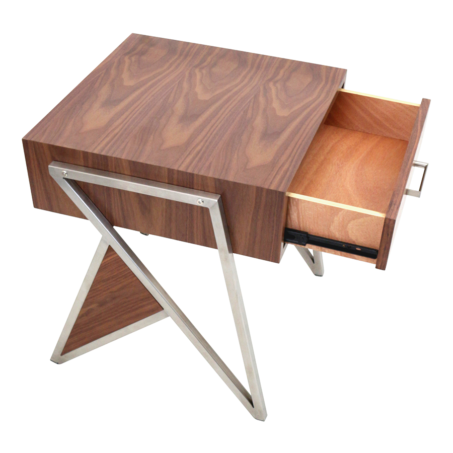 trudy modern end table  nightstand  eurway furniture -  trudy walnut wood  brushed steel contemporary end table  nightstand