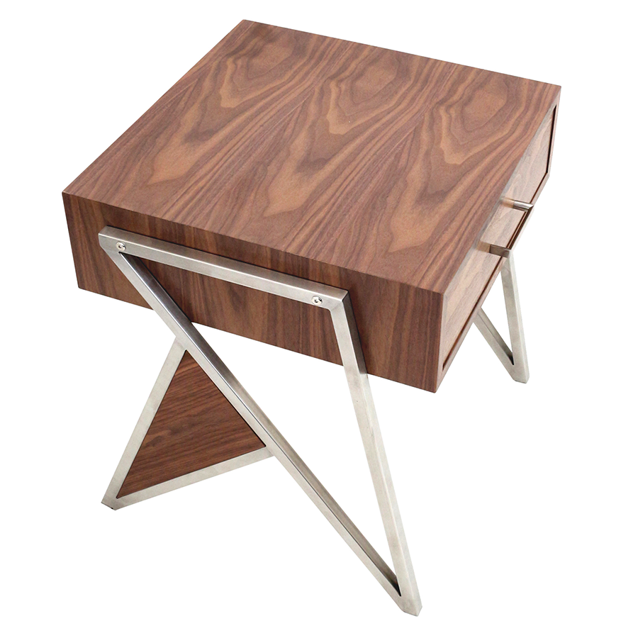 Modern end tables -  Trudy Walnut Wood Brushed Steel Modern End Table Nightstand