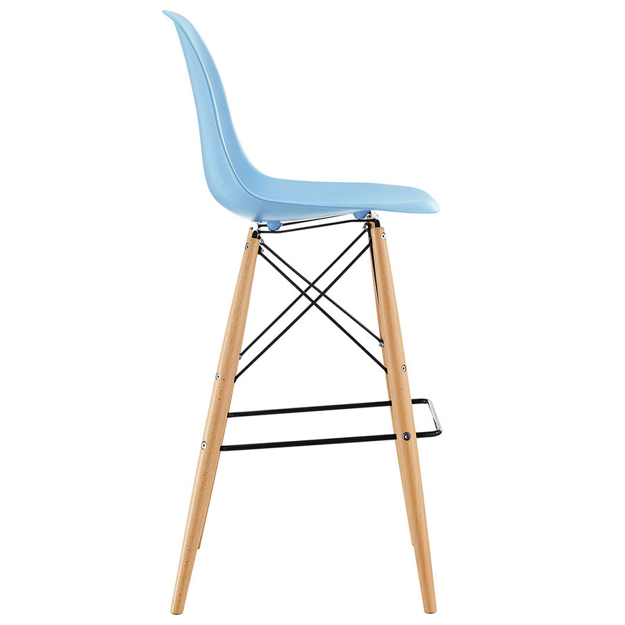 Ordinaire ... Truss Blue Mid Century Modern Bar Stool   Side View ...