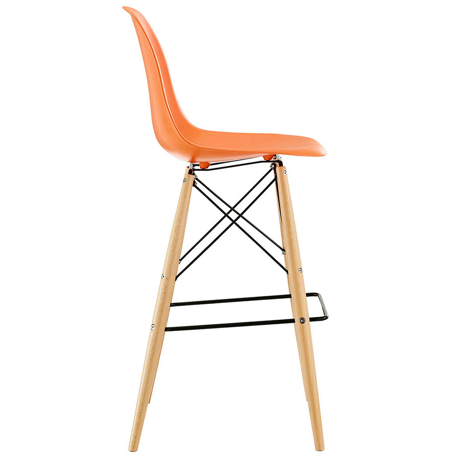 ... Truss Orange Mid Century Modern Bar Stool   Side View ...