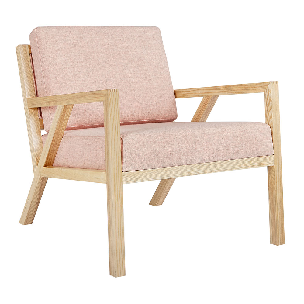 Gus* Modern Truss Arm Chair in Caledon Dahlia Fabric Upholstery With Natural Ash Wood Frame