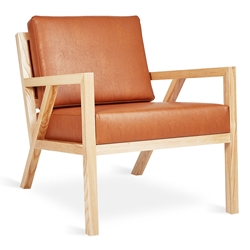 Gus* Modern Truss Arm Chair in Cognac Vegan Appleskin + Natural Ash Wood