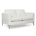 Tyson Modern White Leather Loveseat