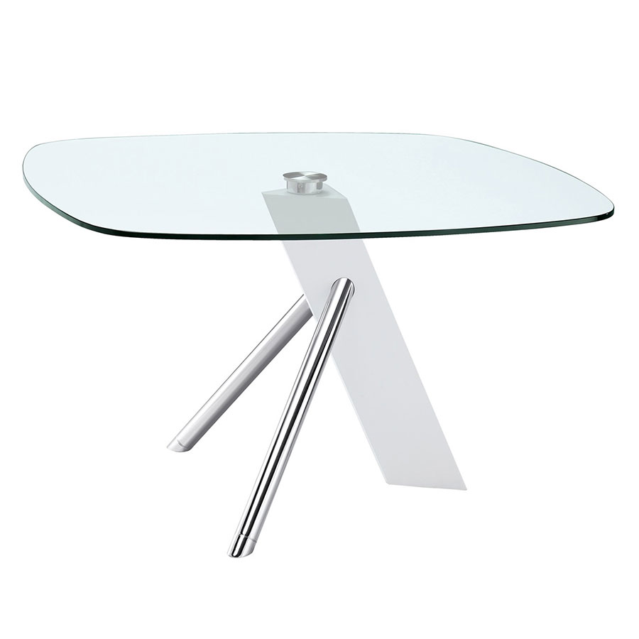 Uber White, Chrome and Glass Modern Dining Table