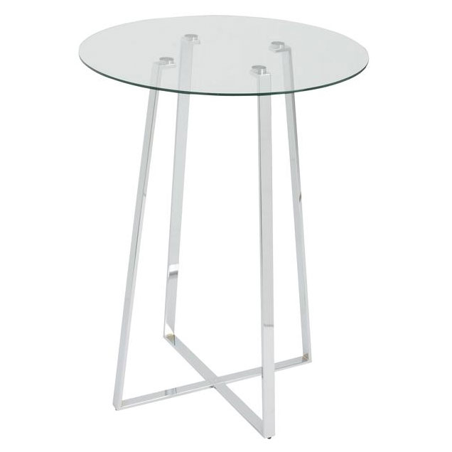 Ulson Chromed Steel + Clear Tempered Glass Round Modern Bar Table