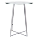 Ulson Chromed Steel + Clear Glass Modern Counter Table