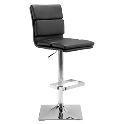 Ulysses Black Faux Leather + Chromed Metal Adjustable Height Modern Stool