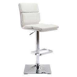 Ulysses White Faux Leather + Chromed Metal Modern Adjustable Height Stool