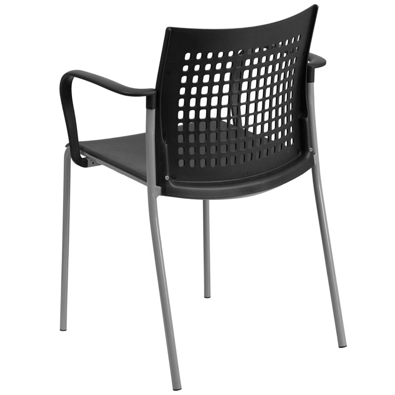 Union Modern Stacking Guest Chair in Black - Back View