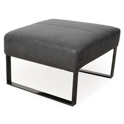 Universe Modern Charcoal Genuine Leather Ottoman